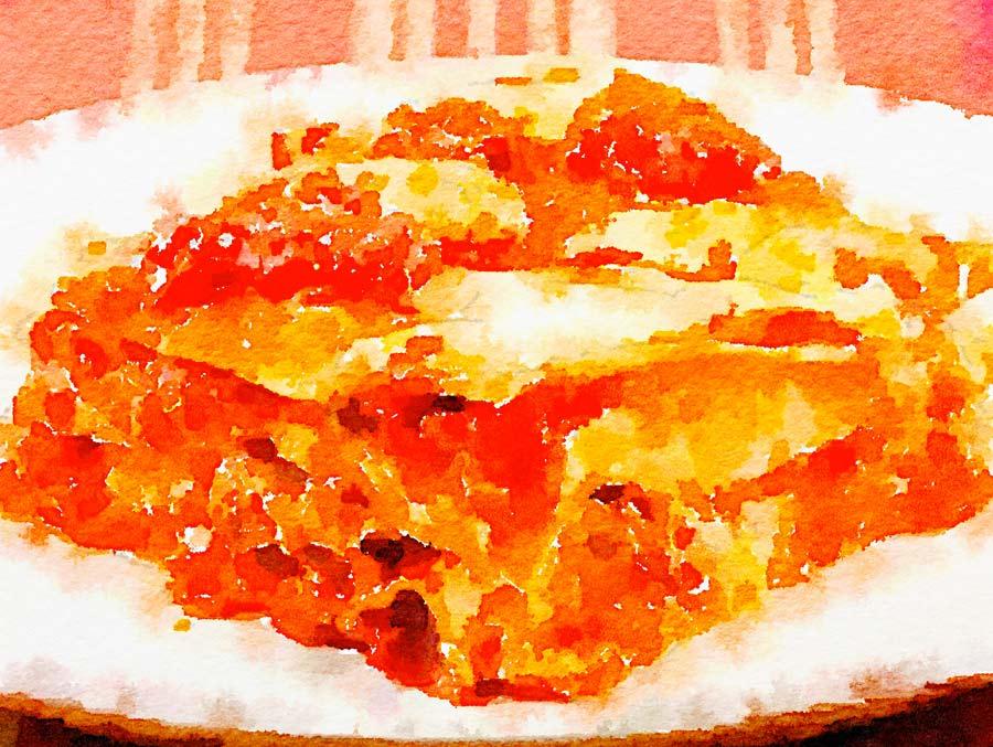 Lasagne con piselli e salsiccia