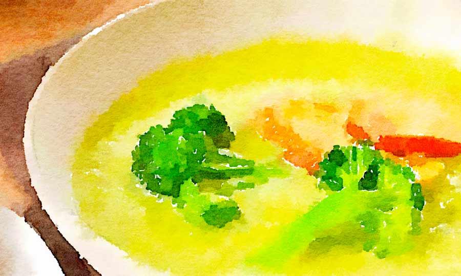 Crema di broccoli e zucca con tofu