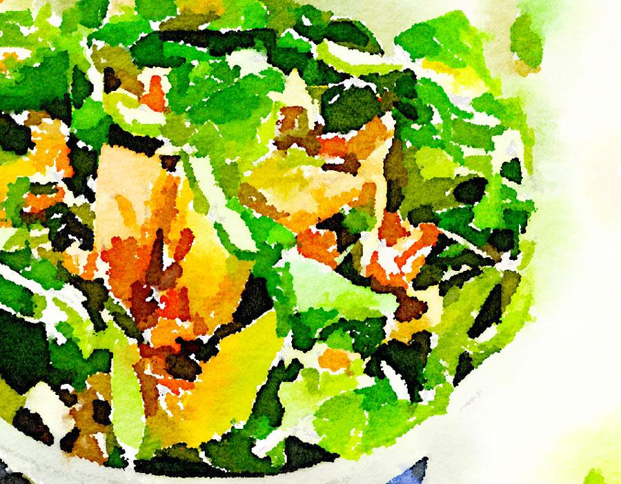 Insalata di scampi, avocado e valeriana