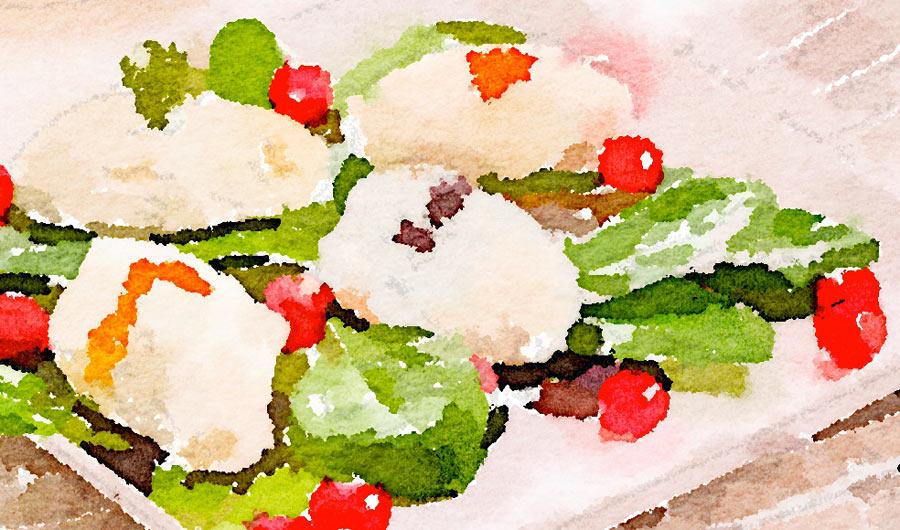 Quenelle di ricotta con asparagi e cicorino