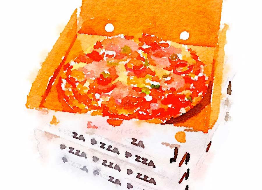 Calcio e pizza nel cartone