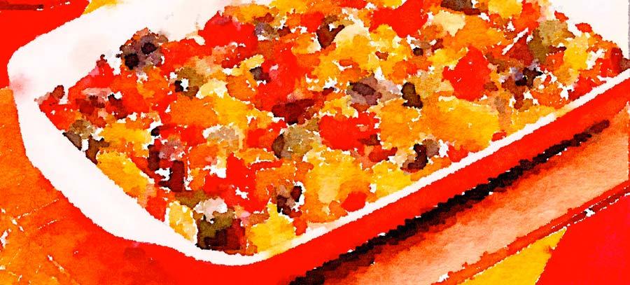 Patate, cipolle e pomodori in forno