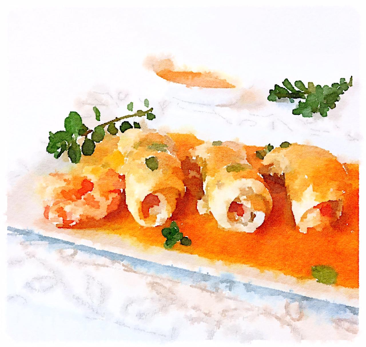 Involtini di sogliola con salsa di carote