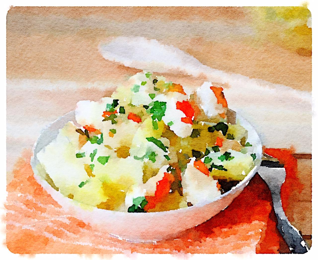 Polpa di granchio in insalata con patate all'erba cipollina