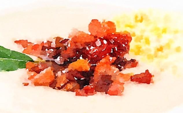 Crema di fagioli con bacon tostato