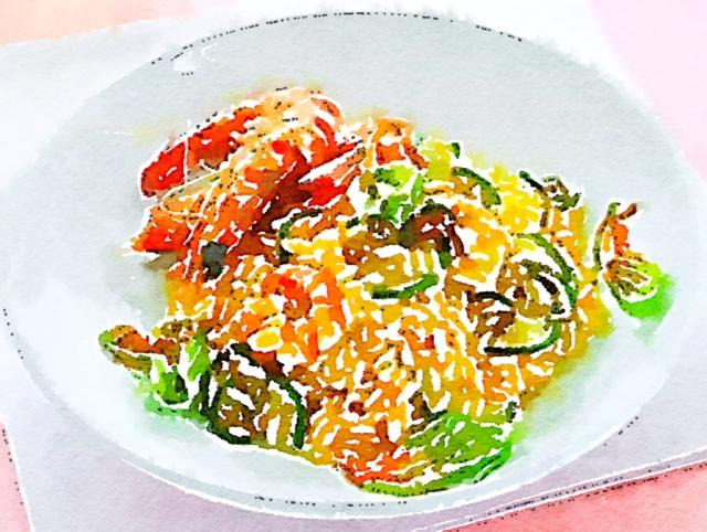 Risotto con gamberi, zucchine e zafferano