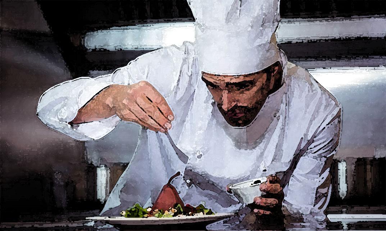 La giacca da cuoco è bianca.